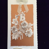 Cream Pearl Card With Cream & Bronze Flowers, Mounted On Bronze Pearl Card.