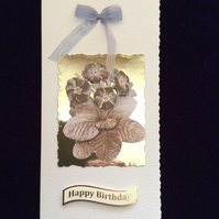 Cream Hammered Card With Cream & Bronze Flowers On Gold Mirri Card.
