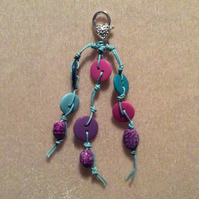 Turquoise Waxed Cotton Cord Bag Charm With Pink & Purple Beads & Silver Clasp.