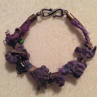Purple, Brown & Green, Boho Bracelet, With Bronze charms.