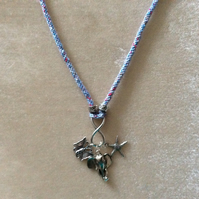 Blue Multi Kumihimo Cord Necklace With Silver Elephant Charm.