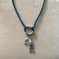 Green & Black Kumihimo Cord Necklace With Fancy Silver Beads & Giraffe.