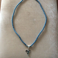 Blue Kumihimo Necklace With Silver Beads & Elephant Charm.