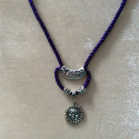 Purple & Black Kumihimo Cord Necklace With beautiful Silver Beads & Sun Charm.