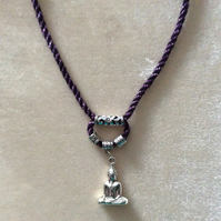 Purple & Black Kumihimo Cord Neacklace With Silver Beads & Deity.