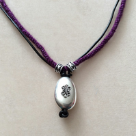Purple & Black Kumihimo Cord Necklace With Silver Beads & Pendant.