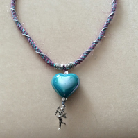 Pink & Lilac Kumihimo Cord Necklace With Silver beads & Blue heart.