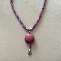 Blue, Purple & Pink Kumihimo Cord Necklace With Silver Beads& Pink Ceramic Bead.