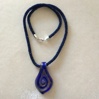Navy, Sparkly, Kumihimo Cord Necklace With Blue, Silver & Glass Pendant.