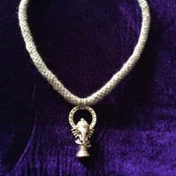 Sparkly Silver & Grey Kumihimo Cord Choker With Silver Ganesh Charm.