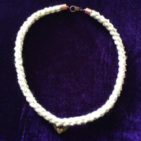Gold & White Kumihimo Cord Choker With A Small Bronze Charm.