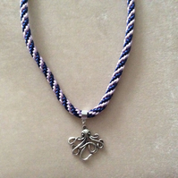 Purple & Lilac Kumihimo Cord Necklace With a Silver Octopus Charm.