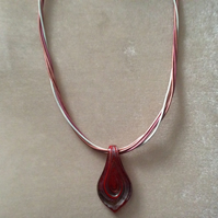 Twisted Leather Cord Necklace, in Shades of Pink With a Red Multi Glass Pendant.