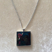 Multicoloured Pendant With a Silver Chain.   Item 3.