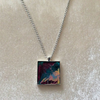 Multicoloured Pendant on a Silver Chain.  Item 2.