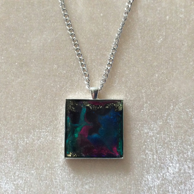 Multicoloured Pendant on a Silver Chain. Item 1