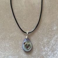 Mother of pearl Pendant with Silver Heart on Black Cord