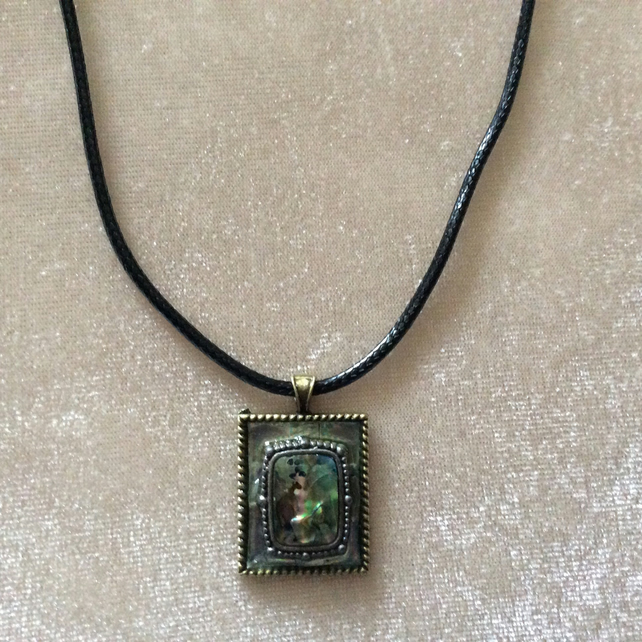 Abalone Embellished Pendant on a Black Cord Necklace.