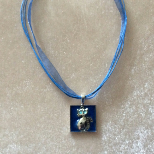 Small Square Pendant with a Silver Cat & Blue cord & Ribbon Choker.