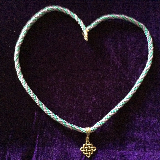 Blue & Lilac Kumihimo Cord Necklace With A Silver Celtic Charm.