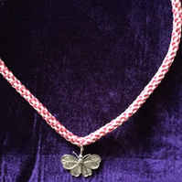 Pink Kumihimo Cord Necklace With Large Butterfly Charm.