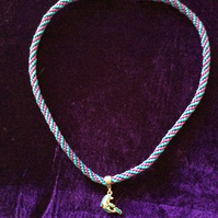Blue & Purple Kumihimo Cord Necklace With A Silver & Blue Dolphin Charm.