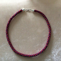 Navy Blue & Red Kumihimo Cord Choker.