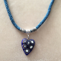 Blue Sparkly Kumihimo Cord Necklace With Silver Findings & Heart Pendant.