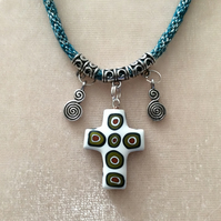 Silver & Green Kumihimo Cord Necklace With Silver beads & A Ceramic Heart Charm.