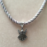 Pink & Grey Kumihimo Cord Necklace With A Silver Angel Charm.