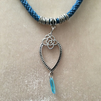 Blue Multi Kumihimo Cord Necklace With Silver Beads & Fancy Silver Charm.