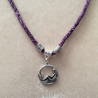 Purple Sparkly Kumihimo Cord Necklace With Silver Beads & A Silver Mermaid Charm