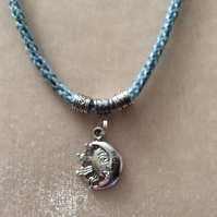 Pale Blue & Pink Kumihimo Cord Necklace With Silver Beads & Sun & Moon Charm.