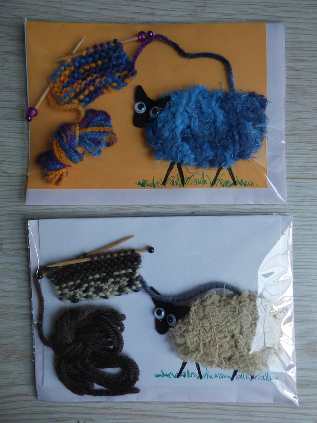 Two handmade Sheep to Yarn to Knitting cards - novelty card for any occasion