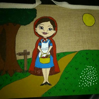 Little Red Riding Hood school jute bag, book bag. Hand painted and personalised.