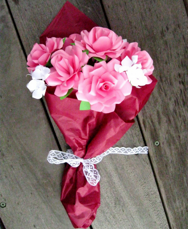 Paper Flower Bouquet Of Pink Roses For Mother S Day Or Wedding