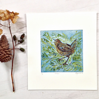 Wren, King of Birds- handmade etching- gifts for nature lovers and gardeners