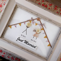 Framed rustic wedding gift button people personalised