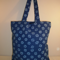 Flowery Blue Batik Effect Tote Bag