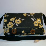 Black and Yellow Flower Fabric Messenger Bag Satchel