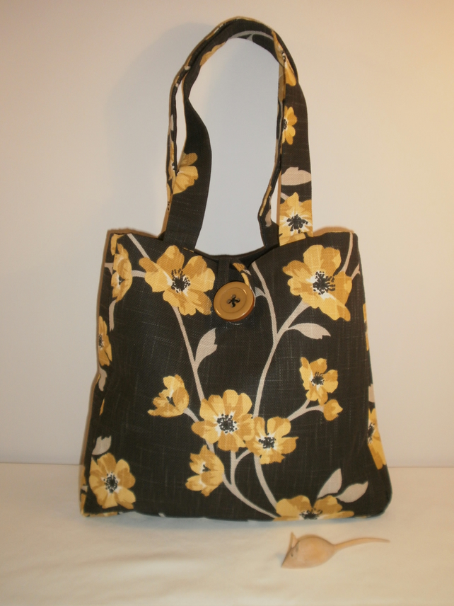 Black and Yellow Flower Fabric Handbag