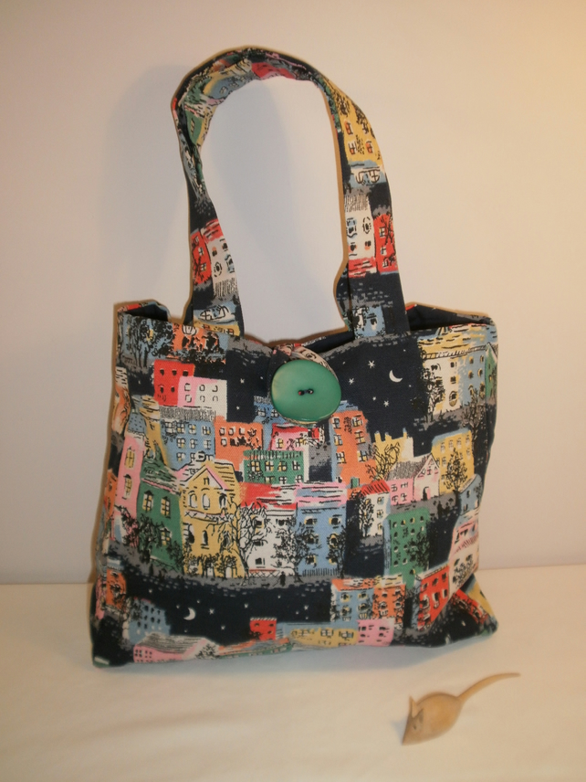 Navy Blue Multi Coloured Street Scene Handbag