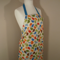 Cute Bird Print Apron Pinny with Turquoise Ties