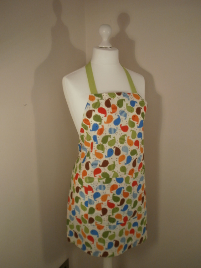 Cute Bird Print Apron Pinny with Lime Green Ties
