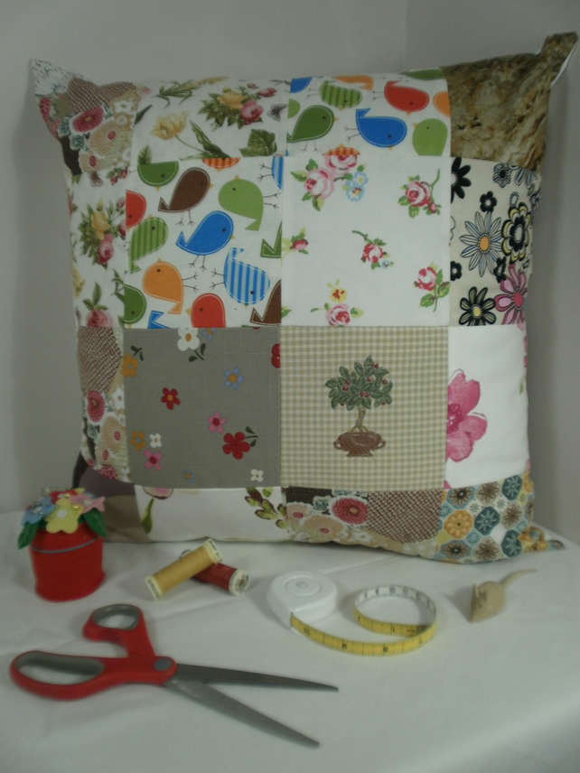 Rustic Cream Patchwork Cushion