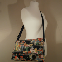 Navy Blue and Multi Coloured Street Scene Messenger Bag Satchel