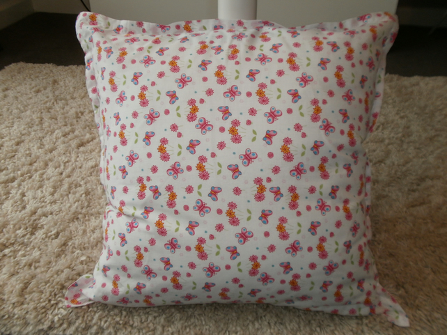 White Butterfly Print Cushion