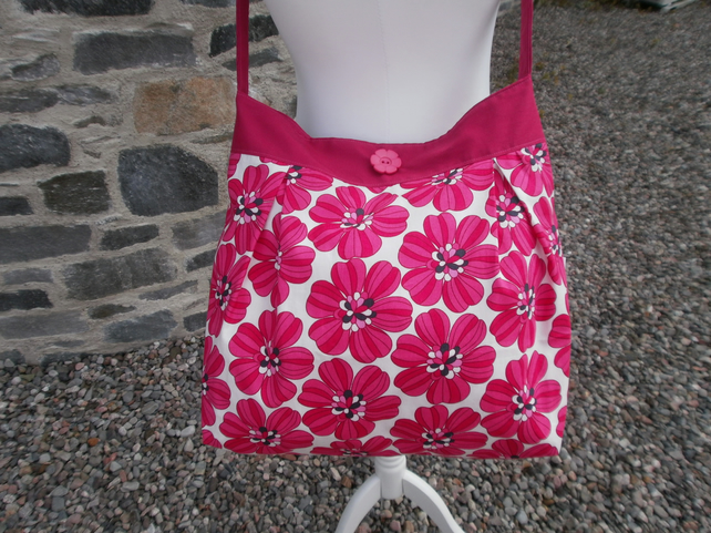 Pink and White Floral Print Cross Body Bag