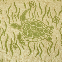 Turtle. An original linoprint of a sea turtle, on handmade paper.