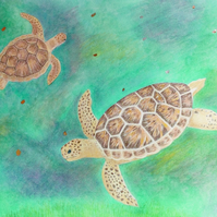 Sea turtles. Quality print from mixed media painting.